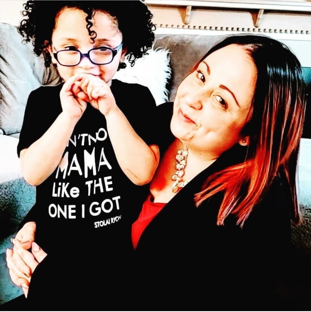 Preschool teacher Jessica Bennett with her son, who has autism